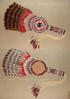 Pow Wow Fan by mickchet on DeviantArt Native American Cherokee, Native American Church, Native American Regalia, Native American Beadwork, Feather Painting, Feather Art, Danse Country, Arte Plumaria, American Indian Crafts