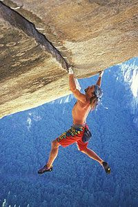 Heinz Zak soloing Separate Reality, 5.11d, Yosemite Valley.  First ascent by valley local Ron Kauk back in 1977.