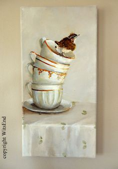 'THE JUMPING OFF POINT'. Bird Teacups painting baby wren on stack of antique by 4WitsEnd, via Etsy