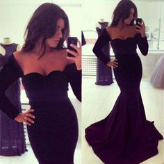 New Sexy Women Long Sleeve Prom Ball Cocktail Party Dress Formal Evening Gown #GL #BallGown #Cocktail