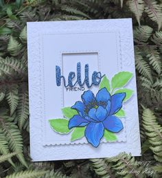 supplies: white cardstock and periwinkle glitter paper, AltenewGarden TreasureandVintage Flowers(leaves) stamps, Hero Arts, Simon, and Altenew inks, SimonPainted Hellodie, Wplus9Hand Lettered Hellostamp, DieNamicsStitched Mini Scallopand SimonStitched Rectangledies, Taylored ExpressionsGarden Frameembossing folder,adhesive foam squares