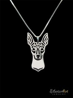 Toy Fox Terrier (this looks like a Miniature Pinscher to me) sterling silver pendant and by SiberianArtJewelry, $99.00