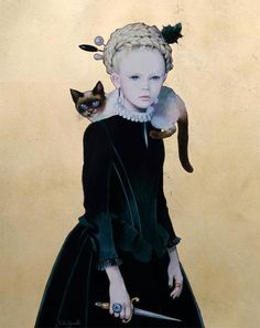 Titti Garelli is an amazing artist who was born and lives in Turin, Italy. She makes these painting. Modern Art, Contemporary Art, Art Fantaisiste, Art Et Illustration, Pop Surrealism, Whimsical Art, Cat Art, Female Art, Art Inspo
