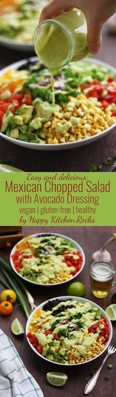 Dairy free - Gluten free - Vegan - Vegetarian - Mexican chopped salad with avocado dressing. Easy and delicious gluten-free recipe of a vegan Mexican chopped salad with avocado dressing. Perfect lunch salad, packed with dietary fiber and protein. Mexican Food Recipes, Whole Food Recipes, Cooking Recipes, Healthy Salads, Healthy Eating, Healthy Recipes, Delicious Salad Recipes, Easy Green Salad Recipes, Salad Recipes Healthy Vegetarian
