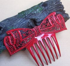 Art Deco Hair Comb Red Celluloid Large Bow by DragonsLairVintage