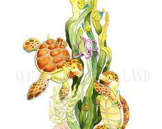 Sea Turtle, Turtle Watercolor, Sea Turtle Art, Sea Turtle Painting, Baby Sea Turtle, Watercolor Nursery, Nursery Decor, Octopus, Crab, Coral