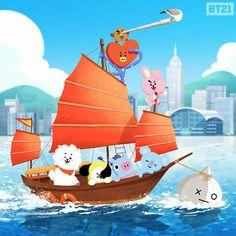 Hong Kong~ Victoria Harbour~ Feel the sea breeze on junk boat! Bts Chibi, Cartoon Wallpaper, Bts Wallpaper, Jikook, Bts Bangtan Boy, Jimin, Bt 21, Victoria Harbour, Line Friends