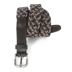 3035-MULTI - Men's Casual Braided Elastic Leather Stretch Belt - Multicolor - perfect for golf club attire which goes well with khakis and shorts