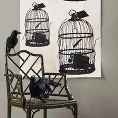 Krähe Raven-Vogelkäfig Silhouette Wanddeko-Halloween Basteln