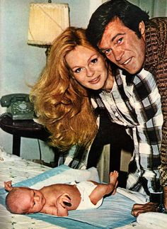 Chris and wife, actress Lynda Day George, show off their new baby girl, Krisinda, 1972. Lynda Day George, The Rat Patrol, Christopher George, Diaper Liners, 5 Kids, New Baby Girls, Childhood Memories, Tv, New Baby Products