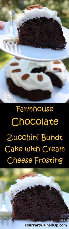 FARMHOUSE CHOCOLATE ZUCCHINI BUNDT CAKE WITH CREAM CHEESE FROSTING.  You won't taste the zucchini, but it will make the cake incredibly moist and delicious!  A touch of cinnamon complements the zucchini and chocolate perfectly.  A family favorite!
