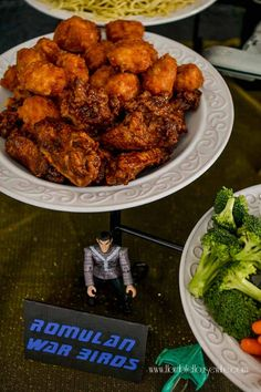 Star Trek: The Next Generation party food- Romulan Warbirds (chicken wings) Star Trek Party, Star Trek Birthday, Star Trek Theme, Star Wars, 70th Birthday, Birthday Ideas, Star Trek Wedding, Dinner Themes, 50th Party