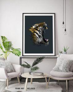 Modern Wall Art, Bengal Tiger Animal Print, Geometric Print, Canvas, Poly Art, Geometric Wall Art, Animal Illustration, Tiger Illustration
