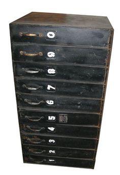 10 Drawer Rustic Reel Film Cabinet on Chairish.com