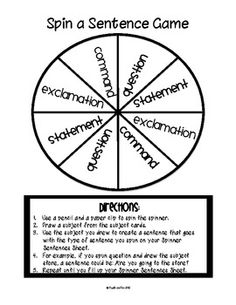 Types of Sentences Activity Pack...Create a game using the spinner