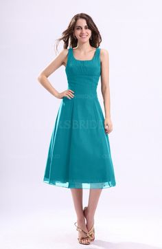 Teal Simple A-line Chiffon Tea Length Pleated Cocktail Dresses