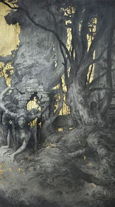 Gold leaf painting by French artist Yoann Lossel