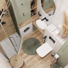 Bad Inspiration, Bathroom Inspiration, Home Decor Inspiration, Bathroom Design Small, Bathroom Interior Design, Small Apartment Interior, Appartement Design, Laundry In Bathroom, Bathroom Styling