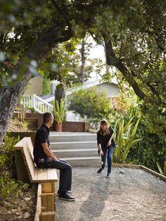 backyard bocce w/ retaining wall & bench