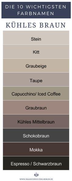 Kühle Brauntöne sind Stein, Kitt, Graubeige, Taupe, Capucchno, Iced Coffee, Graubraun, kühles Mittelbraun, Schokobraun, Mokka, Schwarzbraun