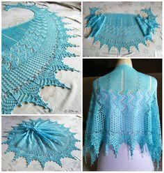Háifoss shawl in aqua, with miyuki beads in transp. I helped testing the pattern before it was published. Topaz, Shawl, Knit Crochet, Aqua, Ruffle Blouse, Beads, Dark, Knitting, Pattern