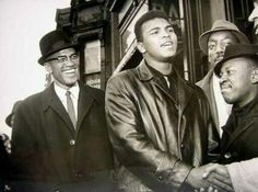 March 1964 Malcolm X, left, and Muhammad Ali outside the Trans-Lux Newsreel Theater in New York. Malcolm X, Muhammad Ali Boxing, The Jackson Five, Vintage Black Glamour, By Any Means Necessary, Black History Facts, Strange History, Black Pride, African American History