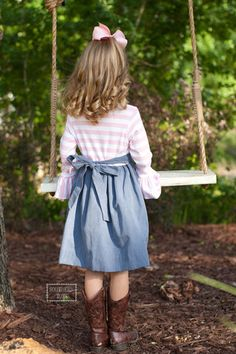 Pre Sale ST Denim with Pink and White Stripe Ruffle Bodice Anne Dress with Sash