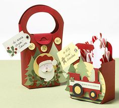 Use Die Cuts and Paper Piecings to Make Holiday Gift Bags  Designs by Gabriella Hunter  Gabriella die-cut cute mini-tote gift bags from solid cardstock and then embellished them with holiday paper piecings.  Editor's Tip: Layer parts of your paper piecings with adhesive foam to add interest and depth to the design.
