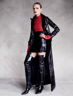 Natasha Poly Sizzles In Red & Black Leathers For Vogue Russia September 2015 | UniLi - Unique Lifestyle