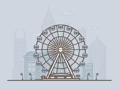 Ferris wheel of Atlanta - by Daniel Haire (on dribbble)