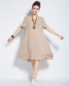 Anysize linen & cotton dress cotton dress plus size by AnySize