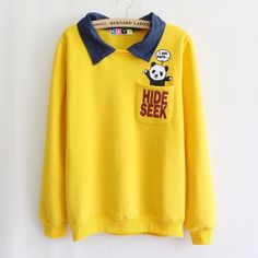 British Style Turn-down Collar Cotton Hoodies Women Cute Little Panda Pocket Sweatshirts Fleece High Quality tops