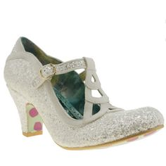 womens irregular choice white nicely done glitter low heels