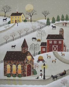 Chapel in the Snow Art Print by Mary Charles. All prints are professionally printed, packaged, and shipped within 3 - 4 business days. Choose from multiple sizes and hundreds of frame and mat options. Primitive Painting, Primitive Folk Art, Primitive Snowmen, Primitive Crafts, Primitive Christmas, Country Primitive, Country Christmas, Christmas Scenes, Christmas Art