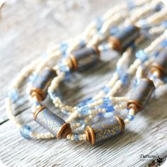 Boho necklace Milky white and light blue by Dariami on Etsy