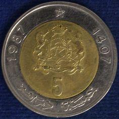 Maroc 5 dirhams 1987, 6€ + 8€
