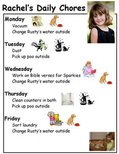 Creating chore charts for kids. With lists of ages and what they can/should do.