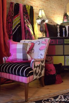 Vintage Black White and Pink Chair Reupholstered in Designers Guild Fabric