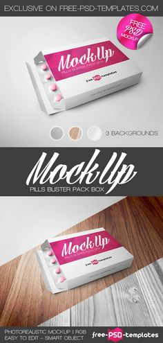 Free Pills Blister Pack Box Mock-up | Free PSD Templates