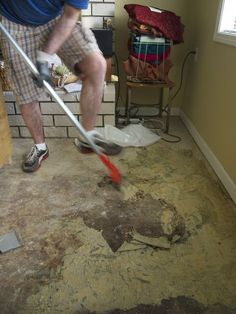 """Stripping glue from a concrete floor: """"This will be a quick story about my descent from eco-friendly home renovation guy to chemical warfare guy. Its either a story of redemption or a sad tale of lost opportunities. Painting Indoor Concrete Floors, Concrete Glue, Cleaning Concrete Floors, Clean Concrete, Painted Concrete Floors, Stained Concrete, Removing Carpet, Carpet Glue, Flats"""