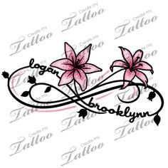 Two Kid's Names Foot Tattoo | logan+brooklynn+lily #77508 | CreateMyTattoo.com
