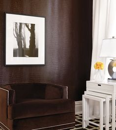 Greater Gator textured vinyl wallcovering in Espresso from Texture Resource Vol 3 with Tidewater Velvet  in Chocolate    #texturedwallcovering #gator love