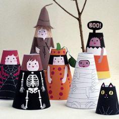 Cone Girls Halloween Paper Dolls DIY by MrPrintables