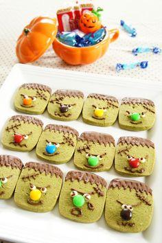 しゃくしゃくの抹茶クッキーをモンスターにデコ♪ ハロウィンパーティーの一皿にどうぞ★