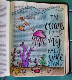 I love how this incorporates worship music lyrics with Bible journaling. This is a beautiful and meaningful journal example!