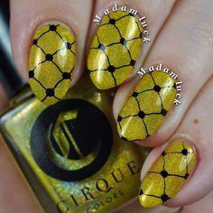 Lace mani featuring Cirque Colors LIMONCELLO