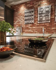 This Exposed Brick Kitchen has a range of features including stunning cabinetry as well as top of the range Wolf and Miele appliances. Exposed Brick Kitchen, Tom Howley, Shaker Style Kitchens, Kitchen And Bath Design, Home Renovation, House Plans, Kitchen Appliances, House Design, Kitchen Inspiration