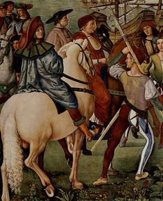 Vasari's Life of Pinuricchio - Enea Piccolomini leaves for the Council of Basel - Piccolomini Library in Duomo, Siena, Italy. Italian Renaissance, Renaissance Art, Renaissance Fashion, Renaissance Clothing, Medieval Knight, Medieval Art, 16th Century Clothing, Italian Paintings, Landsknecht