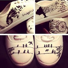 Birds on a Line Design- Made To Order from Breakfree Designs. Saved to shoes . Painted Canvas Shoes, Painted Sneakers, Hand Painted Shoes, Diy Fashion, Fashion Shoes, Tye Dye, Sharpie Shoes, Shoe Crafts, Do It Yourself Fashion