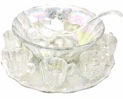 11 piece carnival glass punch bowl set -- colored from natural minerals. $209.99
